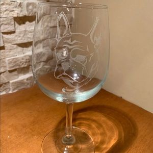 Set of two etched French bulldog wine glasses